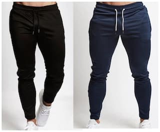 JOGGERS PARK Men Black & Blue Solid Slim fit Joggers