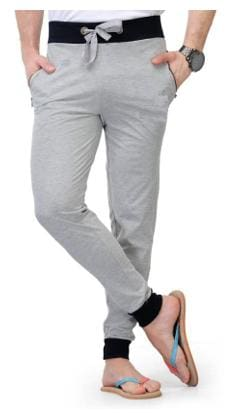 JOGGERS PARK Men Cotton Blend Track Pants - Grey