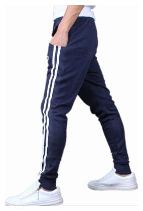 JOGGERS PARK Men Blue Solid Slim fit Track pants