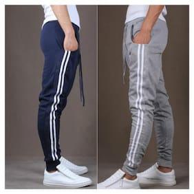 JOGGERS PARK Men Cotton Blend Track Pants - Brown