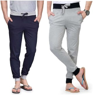 Joggers Park Combo Of 2 Men's Navy Blue and Grey Cotton Blend Trackpants