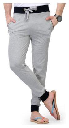 JOGGERS PARK Men Grey Solid Slim fit Track pants