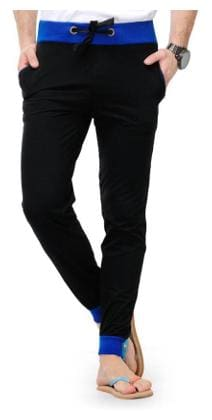 JOGGERS PARK Men Cotton Blend Track Pants - Black