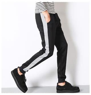 JOGGERS PARK Men Blended Track Pants - Black