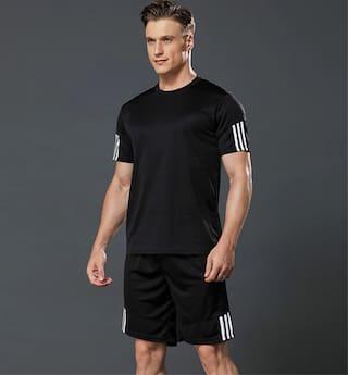 JOGGERS PARK Men Black Solid Regular Fit Track Suit