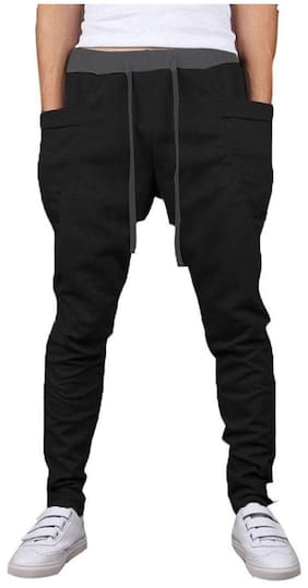 buy popular da909 6f648 JOGGERS PARK Men Blended Track Pants - Black