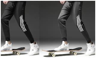 JOGGERS PARK Men Black & Grey Solid Slim fit Joggers