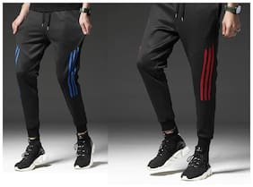 Slim Fit Polyester Track Pants Pack Of 2
