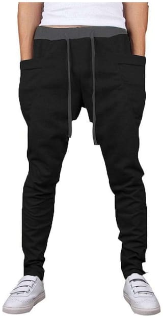 JOGGERS PARK Men Blended Track Pants - Black