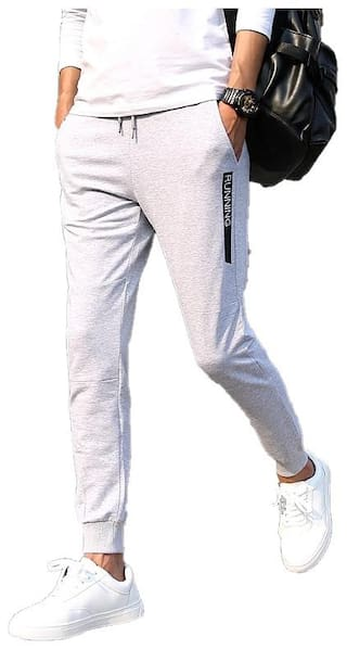 JOGGERS PARK Men Grey Solid Slim fit Track pants