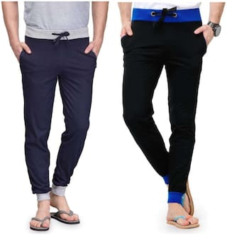 JOGGERS PARK Men Navy blue Solid Slim fit Track pants