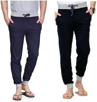 Joggers Park Combo Of 2 Men's Navy Blue and Black Cotton Blend Trackpants