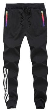Joggers Park Black Skinny Fit Sports Track Pant For Men With Zipper Pockets