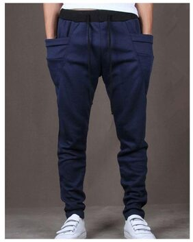 JOGGERS PARK Men Cotton Track Pants - Navy Blue