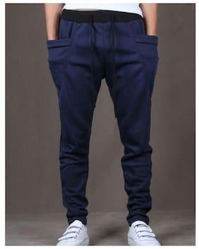 6f14f3ad6614 JOGGERS PARK Men Cotton Track Pants - Navy Blue
