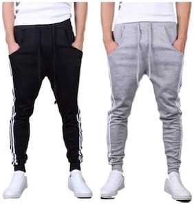 Slim Fit Cotton Track Pants ,Pack Of Pack Of 2
