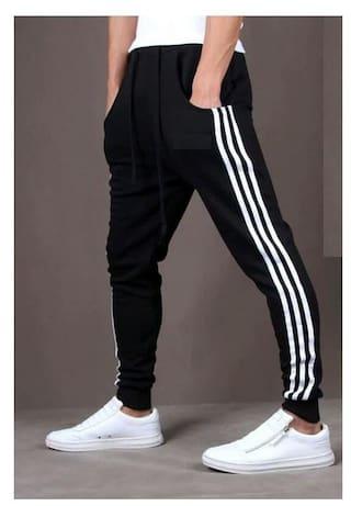 JOGGERS PARK Men Cotton Track Pants - Black