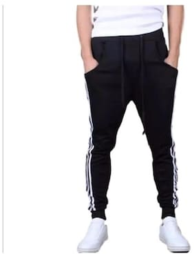 JOGGERS PARK Men Cotton Track Pants - Black