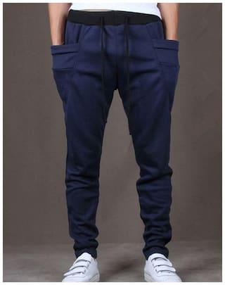 JOGGERS PARK Men Navy blue Solid Slim fit Track pants