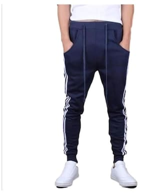 JOGGERS PARK Men Cotton Track Pants - Blue