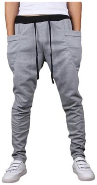 JOGGERS PARK Men Cotton Track Pants - Grey