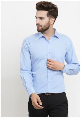 John Players Men Regular Fit Formal Shirt - Blue