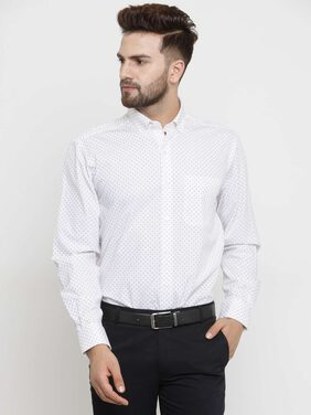 John Players Men Slim Fit Formal Shirt - White