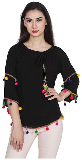 Jollify Casual 3/4th Sleeve Embroidered Women's Multicolor Top