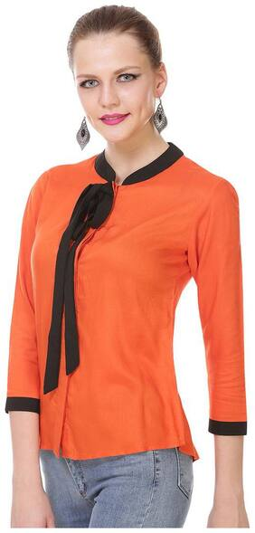 Jollify Women Polyester Solid - Regular top Red