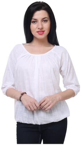 Jollify Casual 3/4th Sleeve solid Women's white cotton Top