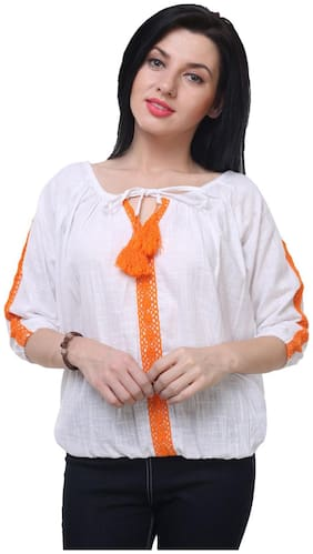 Jollify Women Linen Embroidered - Regular top White