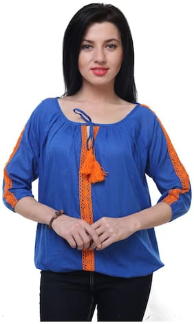 Jollify Casual 3/4th Sleeve Embroidered Women's Nevy Blue Cotton Top