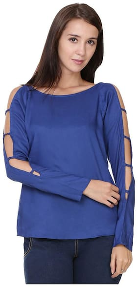 Jollify cotton Dark blue cut sleev Top For Women