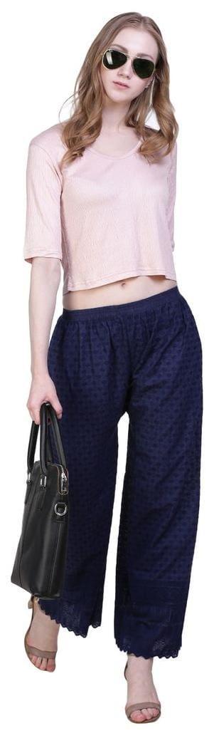 Palazzo blue women's Nevy work Jollify cotton Fullchiken for wq1Px4ZO