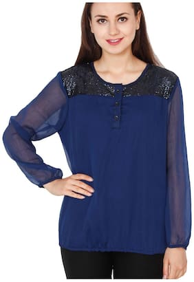 Jollify Women Crepe Solid - Regular top Blue