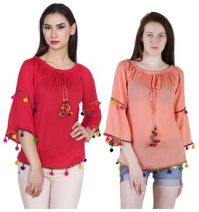 Jollify Women Rayon Embroidered - Regular Top Red