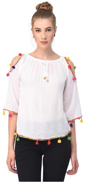 Jollify Women Blended Solid - A-line Top White