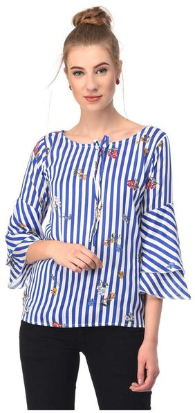 Jollify Women Polyester Solid - A-line Top Blue