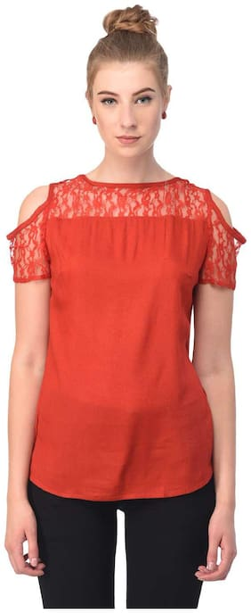 Jollify Women Chiffon Solid - A-line top Red
