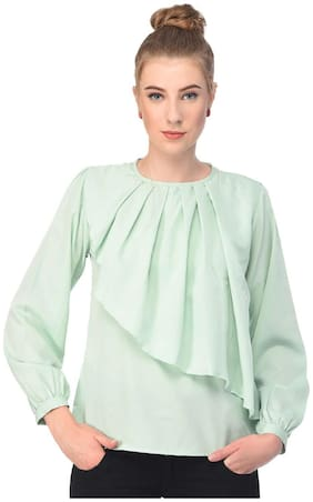 Jollify Women Cotton Solid - A-line top Green