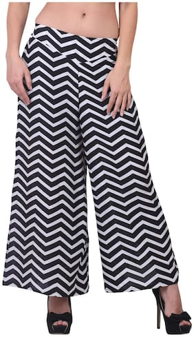 Jollify white and black womens printed palazzo