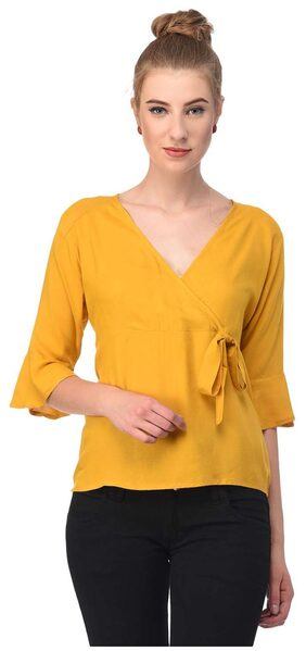 Jollify Women Blended Solid - A-line Top Yellow