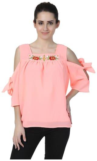 Jollify Women,s orange cold shoulder Embroidered  Tops