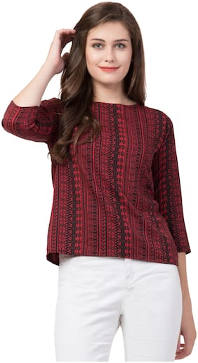 Jollify Women Crepe Printed - Regular top Maroon