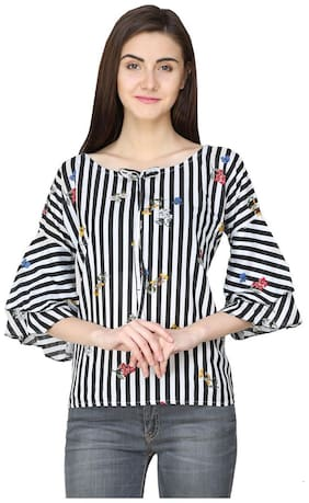 Jollify Women Rayon Striped - Regular top Multi