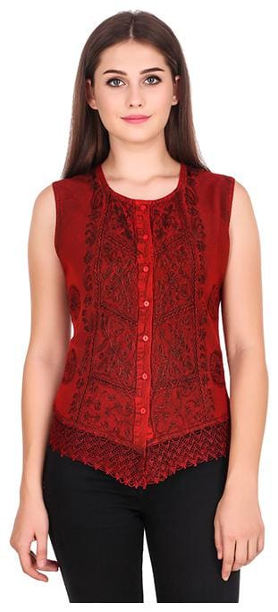 Jollify Women Embroidered Regular top - Maroon