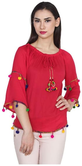 Jollify Women's Red Rayon Embroidered Top