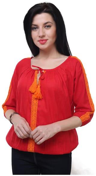 Jollify Women Cotton Solid - Regular top Red