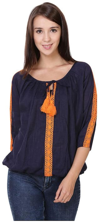 Jollify Women Printed Regular top - Blue