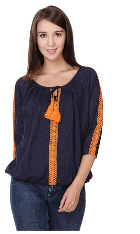 Jollify Women Cotton Printed - Regular Top Blue